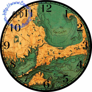 """Old World Map of Cape Cod DIY Clock Face Art - 12.5"""" DIA for 12"""" Circles - Clock Projects, Plates, Transfer"""