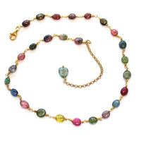 Oval Smooth Watermelon Tourmaline Multicolor Gold Vermeil Chain Slice Extender Fall Fashion Necklace