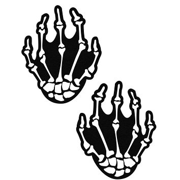 White Boney Skeleton Hands Blacklight Reactive Nipple Pasties