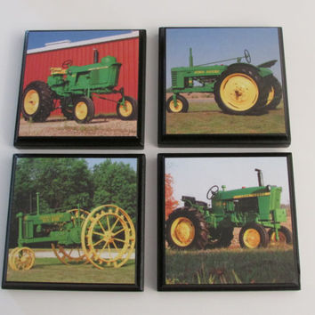 Farm Tractor Room Wall Plaques - Set of 4 Tractor Boys Room Decor - Farm Tractor Truck Wall Signs