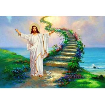 5D Diamond Painting Jesus and the Stairway to Heaven Kit