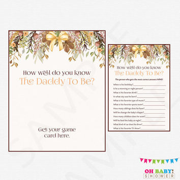Fall Baby Shower Printable Games, How well do you know the Daddy To Be Baby Shower Girl Boy, Autumn Floral Baby Shower Instant Download FF01