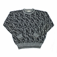 Vintage 90s Gray Acrylic Sweater with Black Triangle Print Mens Size Large