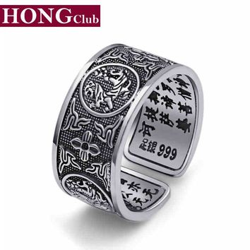2017 Opening Ring 100% Real 925 Sterling Silver Ring Jewelry for Men Vintage Ring Dragon Tiger Bird Snake Turtle GR201