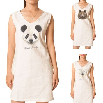 Women Portraits of Bear Printed Vintage Linen Mini Shift Dress WDS_02
