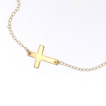 Jennifer Lopez Sideways Cross Necklace  Small by classicdesigns