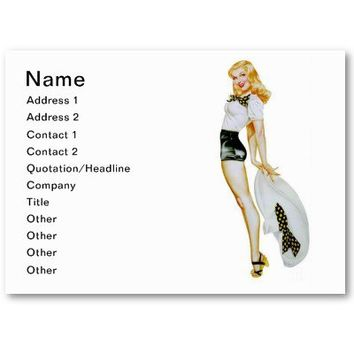 Vintage Retro Pin Up Girl - Blonde with huge Hat Business Card Template from Zazzle.com