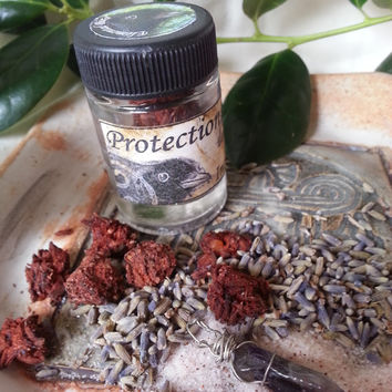 Handmade Incense spell kit with charm. Wicca, Green, Hedge Witch spell craft for protection magickal intent. Amethyst crystal charm