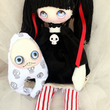 Abigail handmade gothic cloth doll with skulls and monster friend OOAK