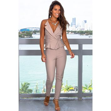 Taupe Gray Surplice Jumpsuit