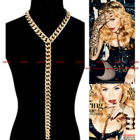Vintage Sexy Gold  Plated Body Chain Chunky Statement Choker Necklace for Women