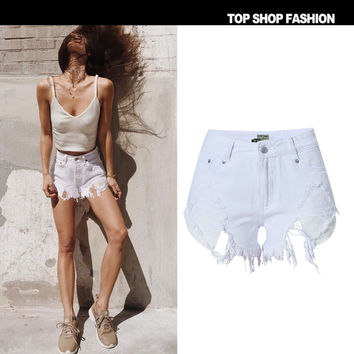 High Waist Denim Women's Fashion Hot Sale Irregular With Pocket Ripped Holes Shorts [10734938383]