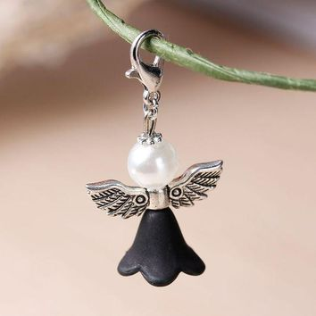 ONETOW White & Black Lovely Dress Guardian Angel Wing Pendant,With Acrylic Spacer And Lobster Clasps 38x22mm,10 PCs 2016 new