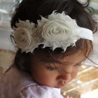 Ivory Color Shabby Chiffon Fabric Flower Headband, Girl Headband, Baby Girl Headband, Infant Girl Headband, Newborn Girl Headband