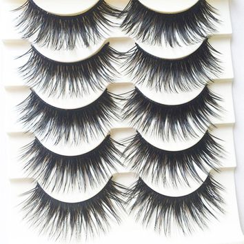 5 Pairs Handmade Black Voluminous False Eyelashes Makeup Very Thick Long Fake Eye Lashes Women Cosmetic Beauty Extension Tools