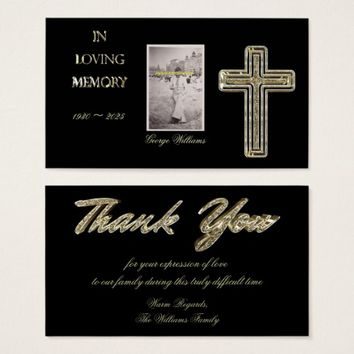 Funeral Thank You Golden Cross Elegant Business Card