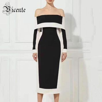 Chic Black White Geometric Off The Shoulder Long Sleeves Club Women Celebrity Party Bandage Dress