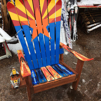 Hand Painted Arizona Flag Adirondack Ski chair