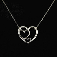 3 Heart Necklace . Three Generations . Sterling Silver Triple Heart Pendant . Grandmother, Mother & Child...Dad, Mom and Child...or 3 Sisters Jewelry