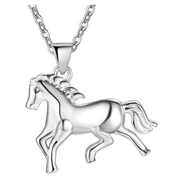 Rearing Horse Animal Charm Pendant & Cable Chain Necklace in 925 Sterling Silver