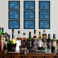 Discounted Set - Nine Cocktail Blueprint Posters Bloody Mary Gin Tonic Moscow Mule Margarita Sale Bar Art #vi745