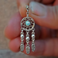 Fire Opal Dream Catcher Blue Green 16ga Cartilage Helix Earring Body Jewelry Upper Ear Jewelry