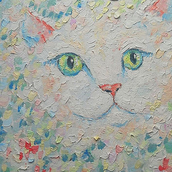 Nursery Unique Wall Decor White Cute Cat Portrait Original Handmade Pastel Oil Painting Abstract Canvas Pastel Colors Russian Artist Pet Art