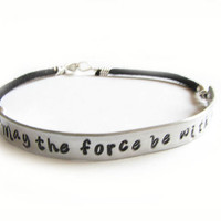 Star Wars Bracelet May the force be with you Hand by JSCJewelry