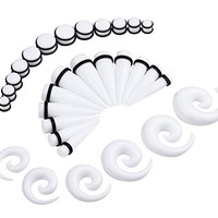 36 Pieces White Spiral Tapers and Plugs 00G-20mm Stretching Kit -18 Pairs