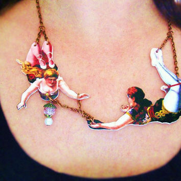 Circus Necklace Statement Jewelry For Her Acrobats in Love Free Shipping
