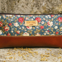 Glacous Blue Vintage Roses Tan Leather Cosmetic by GimCarry