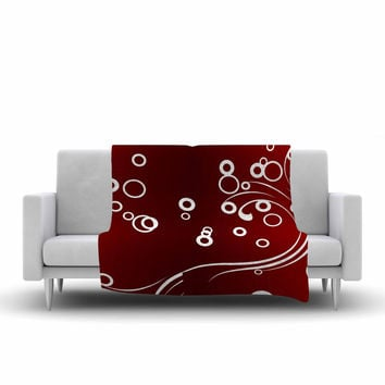 "Fotios Pavlopoulos ""White Abstract On Red"" Maroon Abstract Fleece Throw Blanket"
