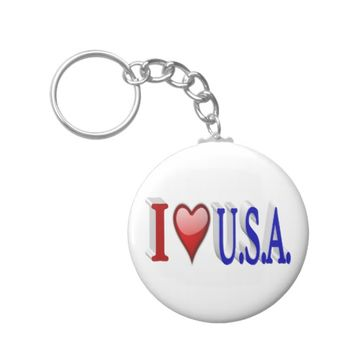 I Heart U.S.A. 3D Key Chains, Red & Blue Keychain