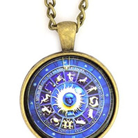 Zodiac Wheel Necklace Antique Gold Tone NS23 Astrology Medallion Pendant Fashion Jewelry