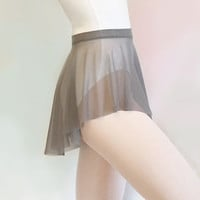 Gray Mesh Ballet Dance Skirt - SAB Style- Royall Dancewear- Lyrical- Pull On- Grey