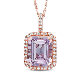 Emerald-Cut Rose de France Amethyst and Lab-Created White Sapphire Frame Pendant in 10K Rose Gold
