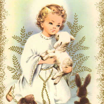 Vintage Unused Christmas Card - Religious Luke 1:32 - Child and Lamb - Merry Christmas - Metallic Gold - Holiday Greeting Card - Bible Verse