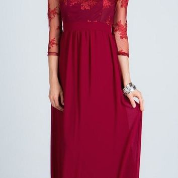 Illusion Mid Length Sleeves Long Formal Dress Empire Waist Burgundy