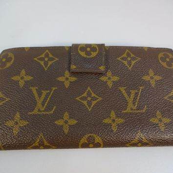LOUIS VUITTON BROWN LV MONOGRAM WALLET CHECKBOOK COIN PURSE VINTAGE MADE IN USA