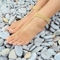 5 PAIRS Gold Crochet Barefoot Sandals in a Tbar Design, Wedding Favors .,Foot Jewelry,Toe Ring, Nude Shoes.