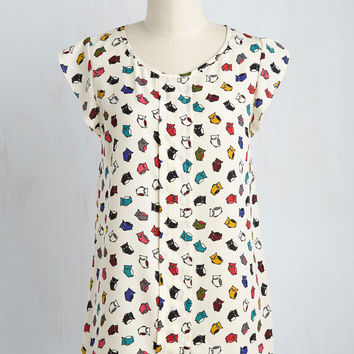 Star of the Seminar Top in Owls | Mod Retro Vintage Short Sleeve Shirts | ModCloth.com