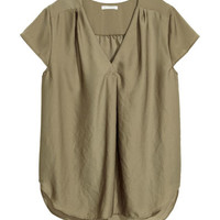 Satin Blouse - Khaki green - Ladies | H&M US