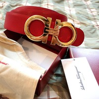 NWT authentic Salvatore Ferragamo Reversible Red Belt GOLD Buckle 95/38 32-34