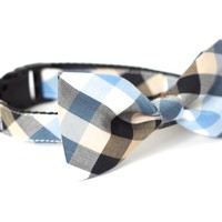 UsagiTeam Blue Checkers Bow Tie Collar