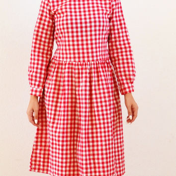 Annie Mid Calf Modest Checkered Dress