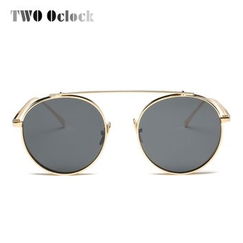 TWO Oclock Women Sunglasses Steampunk Round Gold Metal Frames Shades Vintage Retro Sun Glasses UV400 Eyewear Accessories R6644