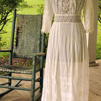 Edwardian Antique dress/ 1900 Tea Gown/ White Embroidered Tea Dress Size XXSmall