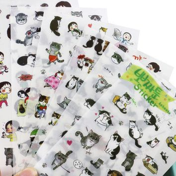 VONC1Y 1pcs Diy Cat Diary Stickers Pack Post it Kawaii Planner Scrapbooking Sticky Memo Sticker Stationery 2016 New School Supplies