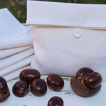 Set of 6 White Natural Linen Pouches Gift Bags Snack Bags Bridesmaids Gifts Bridesmaids Pouches