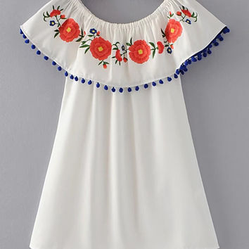 White Flower Print Boat Neckline Pom Pom Trim Dress